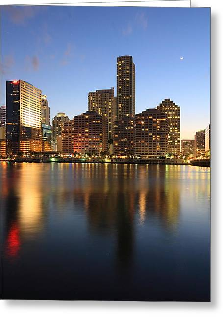 Brickell Greeting Cards - Moonrise over Brickell Miami Greeting Card by Brickell Photography