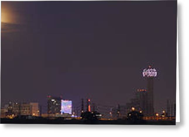 Moonrise Greeting Cards - Moonrise over Dallas Greeting Card by Debby Richards