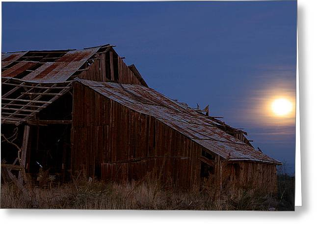 Bayliss Greeting Cards - Moonrise Over Decrepit Barn Greeting Card by Robert Woodward