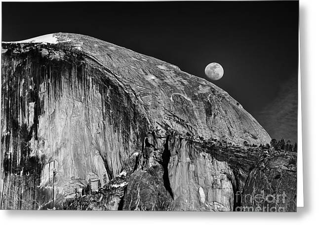Moonrise Greeting Cards - Moonrise Over Half Dome Greeting Card by Terry Garvin