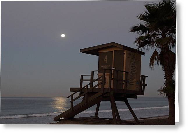 Beach At Night Greeting Cards - Moonrise over Lifeguard Tower Greeting Card by Richard Cheski