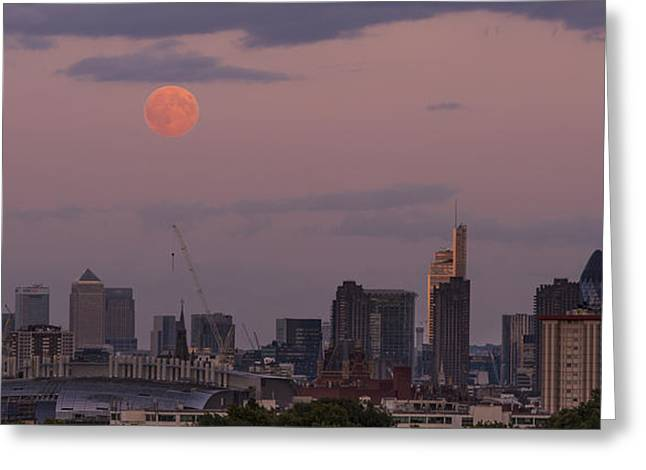 Moonrise Greeting Cards - Moonrise over London Greeting Card by Greg Krycinski