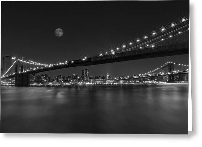 Full Moon Greeting Cards - Moonrise over Manhattan BW Greeting Card by Susan Candelario