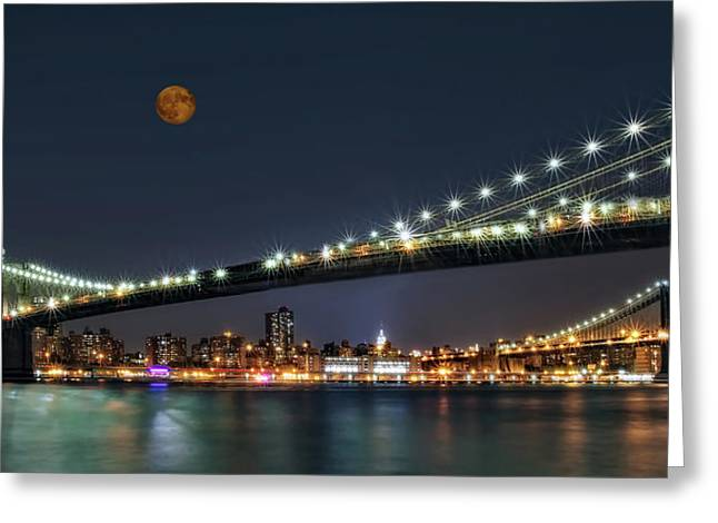 Empire State Greeting Cards - Moonrise over Manhattan Greeting Card by Susan Candelario