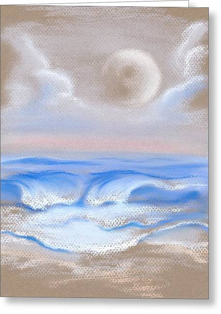 Sea Moon Full Moon Pastels Greeting Cards - Moonrise Over Myrtle Beach Greeting Card by MM Anderson