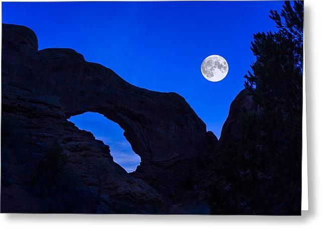 Jeff Burton Greeting Cards - Moonrise Over North Window Arch Greeting Card by Jeff Burton