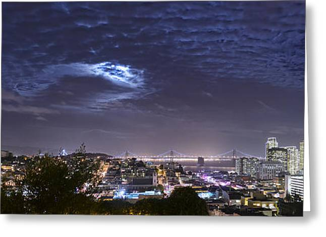 Moonrise Greeting Cards - Moonrise Over San Francisco November Panorama View Greeting Card by David Yu