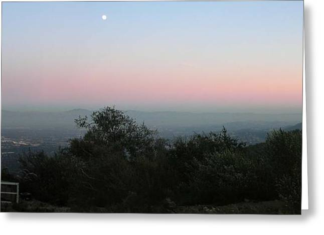 Moonrise Greeting Cards - Moonrise over San Jose Greeting Card by Jeff Chase