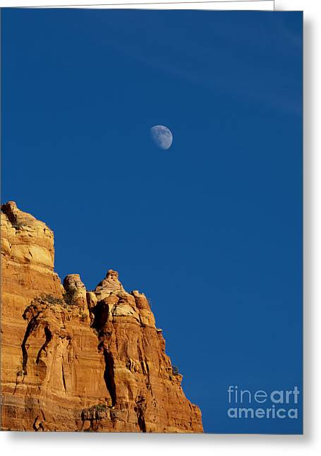 Moonrise Greeting Cards - Moonrise over Sandstone Greeting Card by Mike  Dawson