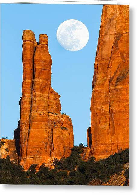 Oak Creek Greeting Cards - Moonrise over Sedona Greeting Card by Adam Schallau