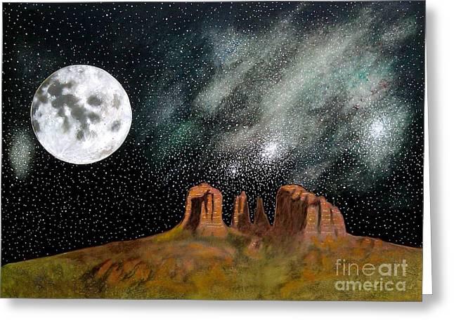 Moonrise Over Sedona Greeting Card by John Lyes