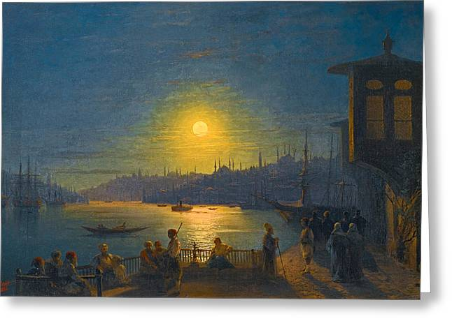 Moonrise Greeting Cards - Moonrise over the Golden Horn Greeting Card by Ivan Konstantinovich Aivazovsky
