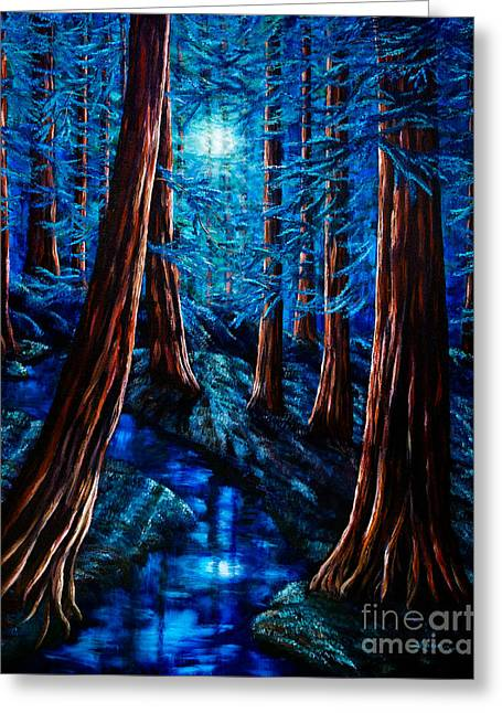 Moon River Greeting Cards - Moonrise over the Los Altos Redwood Grove Greeting Card by Laura Iverson