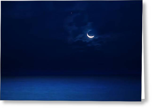 Beauty Mark Greeting Cards - Moonrise Over The Sea Greeting Card by Mark Andrew Thomas