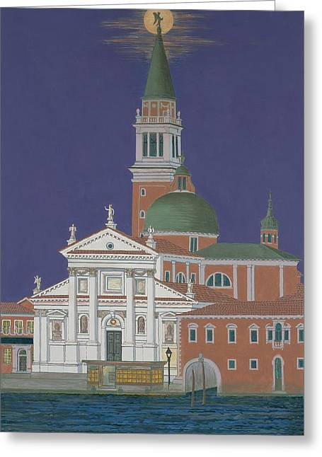 Moonrise Over Venice Greeting Card by David Hinchen