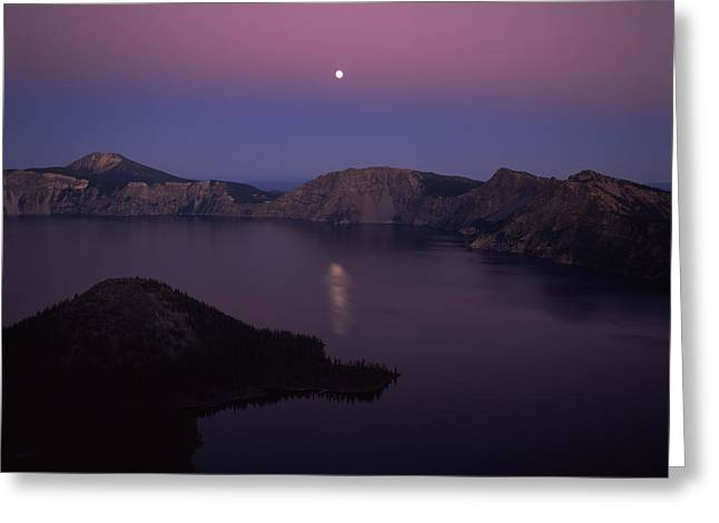 Crater Lake Greeting Cards - Moonrise Over Wizard Island, Crater Greeting Card by Panoramic Images