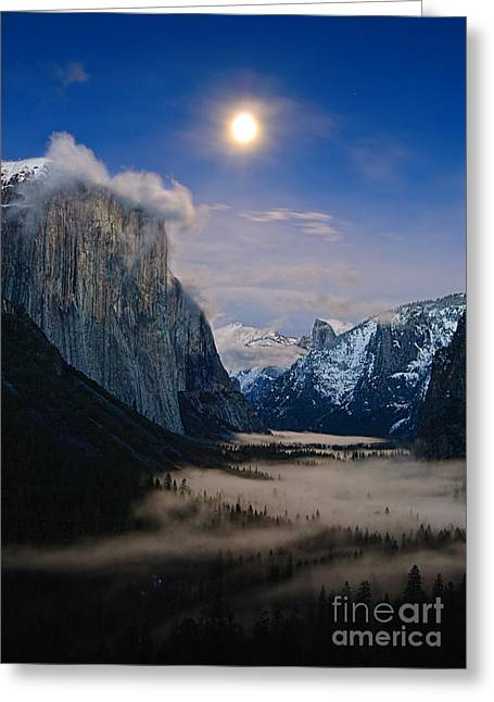 Moonrise Greeting Cards - Moonrise over Yosemite National Park Greeting Card by Jamie Pham