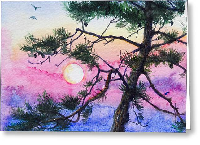 Pine Cones Paintings Greeting Cards - Moonrise Pine Greeting Card by Patricia Allingham Carlson