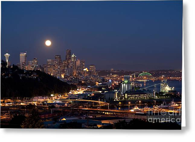Moonrise Seattle Skyline Greeting Card by Jim Corwin
