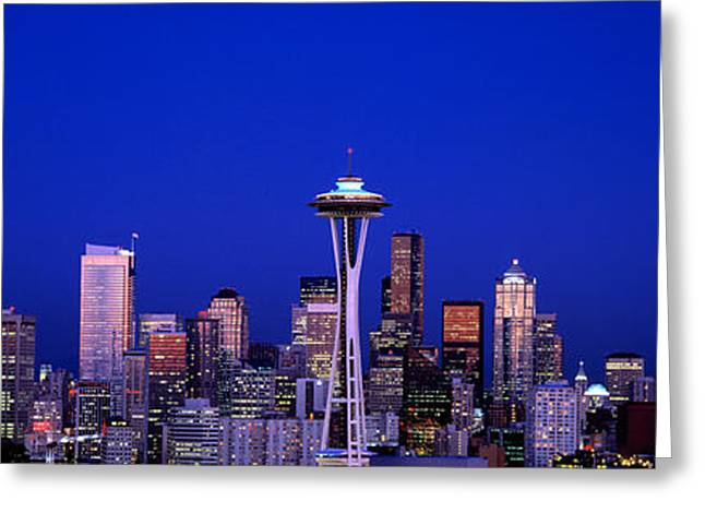 City Buildings Greeting Cards - Moonrise, Seattle, Washington State, Usa Greeting Card by Panoramic Images