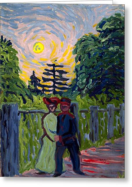 Moonrise Greeting Cards - Moonrise. Soldier and Maiden Greeting Card by Ernst Ludwig Kirchner