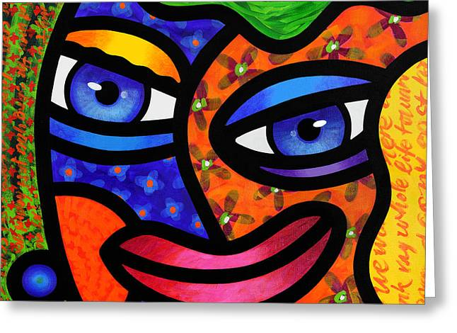 Abstract Faces Greeting Cards - Moonrise Greeting Card by Steven Scott