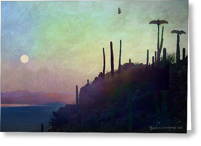 Vulture Silhouettes Greeting Cards - Moonrise Vulture Roost  Greeting Card by R christopher Vest