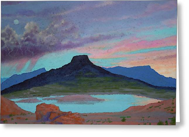 Moonrise Greeting Cards - Moonrise With Thunderstorm over Abiquiu Lake and Pedernal Mountain Greeting Card by Anastasia  Ealy