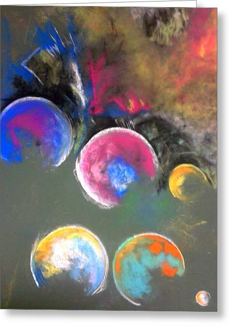 Planets Pastels Greeting Cards - Moons of Jupiter Greeting Card by Thomas Petrizzo