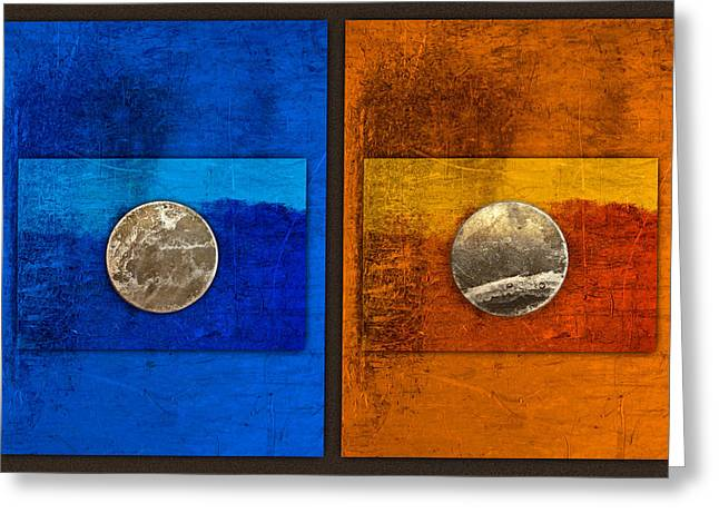 Disk Photographs Greeting Cards - Moons on Blue and Gold Greeting Card by Carol Leigh