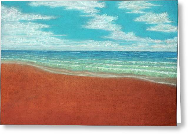 Panoramic Ocean Pastels Greeting Cards - Moonset A Greeting Card by Michael Heikkinen
