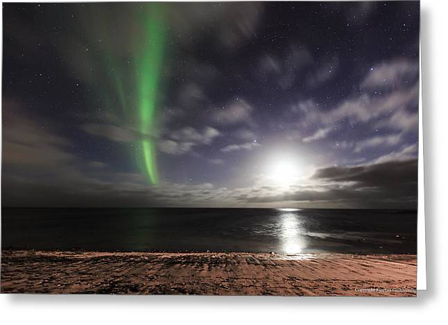 Northernlights Greeting Cards - Moonset and aurora. Greeting Card by Kjartan Gudmundur