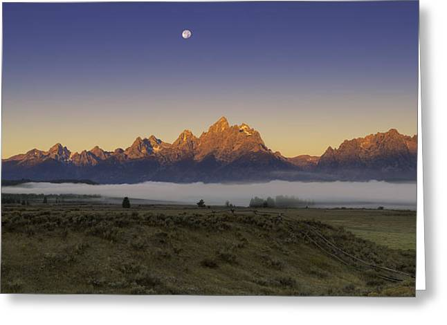 Moon Set Greeting Cards - Moonset at Dawn Grand Teton National Park Greeting Card by Joseph Rossbach