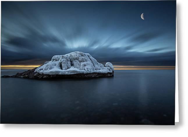Sup Greeting Cards - Moonset before Sunrise the Lutsen Rock Greeting Card by Jakub Sisak