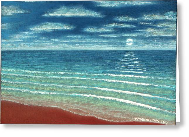 Panoramic Ocean Pastels Greeting Cards - Moonset C Greeting Card by Michael Heikkinen