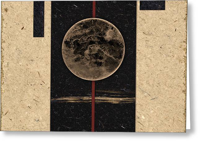 Geometrical Greeting Cards - Moonset Greeting Card by Carol Leigh