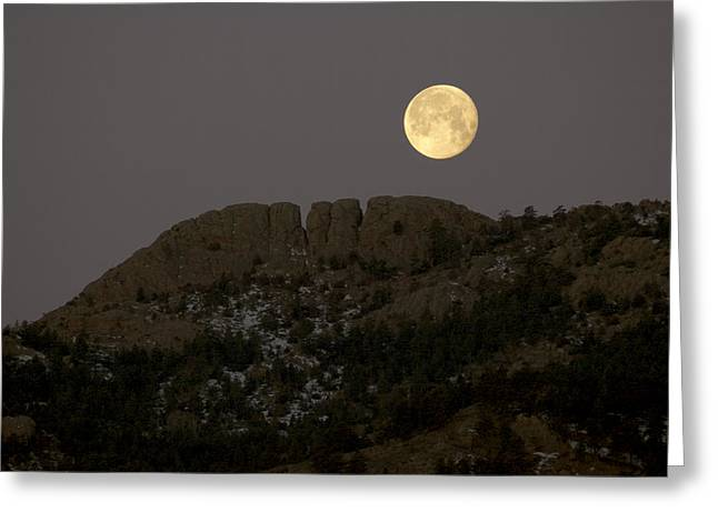 Moonset over Horsetooth Greeting Card by Rich Ernst