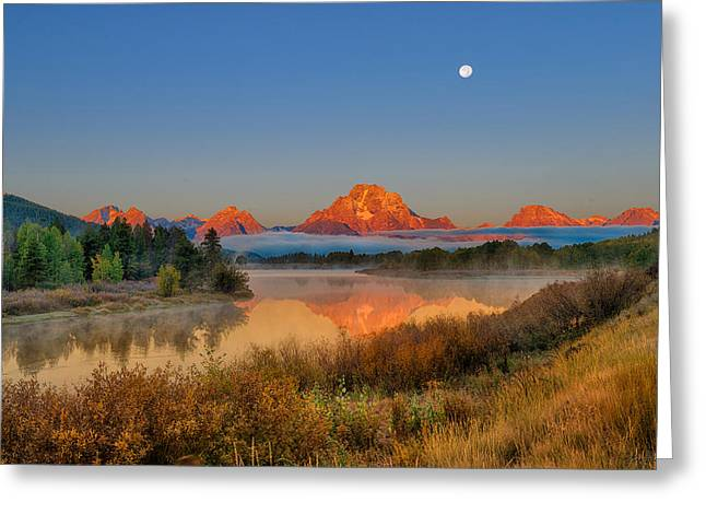 Tetons Greeting Cards - Moonset over Oxbow Bend Greeting Card by Greg Norrell