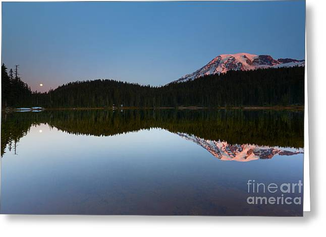 Mt Greeting Cards - Moonset over Rainier Greeting Card by Mike  Dawson