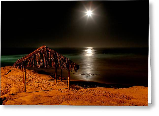 Moonset Over Windnsea Greeting Card by Peter Tellone