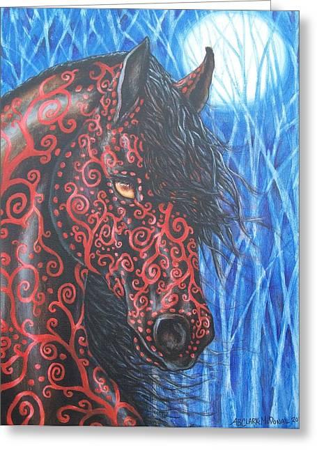 Beth Clark-mcdonal Greeting Cards - Moonsfyre Stallion of Nyteworld Greeting Card by Beth Clark-McDonal