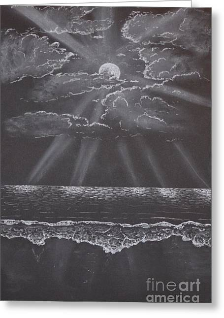 Moon Beach Drawings Greeting Cards - Moonshine Greeting Card by David Swope