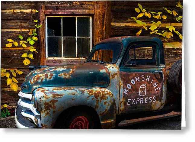 Rusted Cars Greeting Cards - Moonshine Express Greeting Card by Debra and Dave Vanderlaan