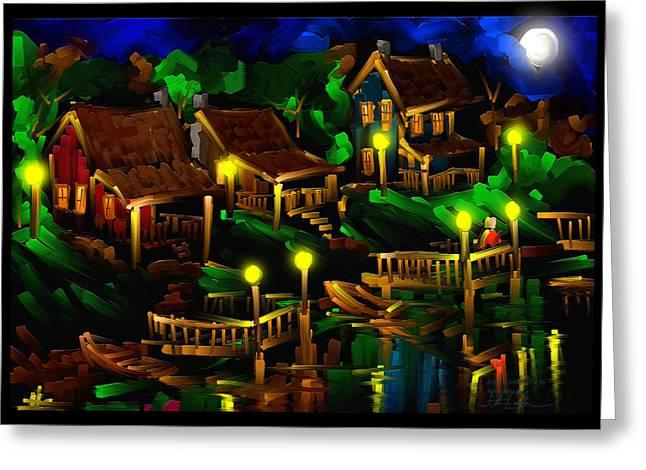 Moonshine Lake - Scratch Art Series - # 26 Greeting Card by Steven Lebron Langston