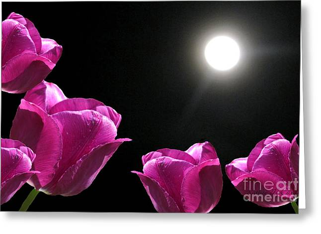 Ohio ist Digital Greeting Cards - Moonshined Tulips Greeting Card by Kathie McCurdy