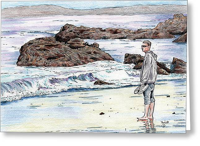 Big Sur California Mixed Media Greeting Cards - Moonstone Beach comber Greeting Card by Diana Cardosi-Bussone