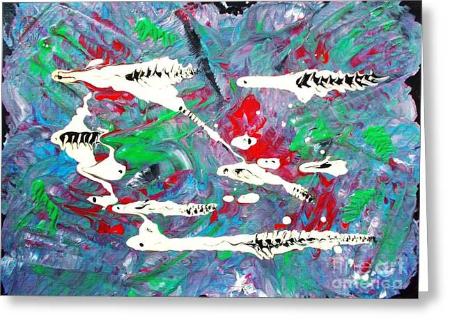 Abstract Expressionist Greeting Cards - Moonwort and Rattlesnakes Greeting Card by Roberto Prusso