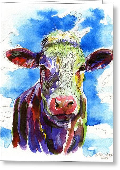 Angus Steer Paintings Greeting Cards - Moooo Greeting Card by Bill Stork