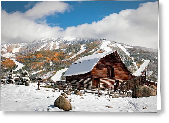 Snowstorm Framed Prints Greeting Cards - Moor Barn Autumn Snowstorm 2 Greeting Card by John McArthur