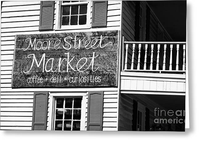 Black Moore Greeting Cards - Moore Street Market mono Greeting Card by John Rizzuto